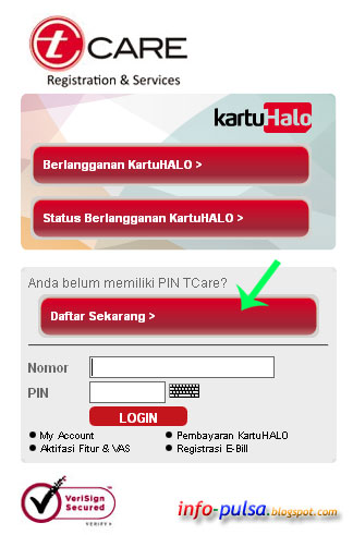 Daftar di halaman website T-Care Telkomsel