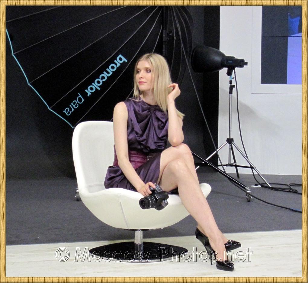 Blonde model in lilac dress Photoforum 2010