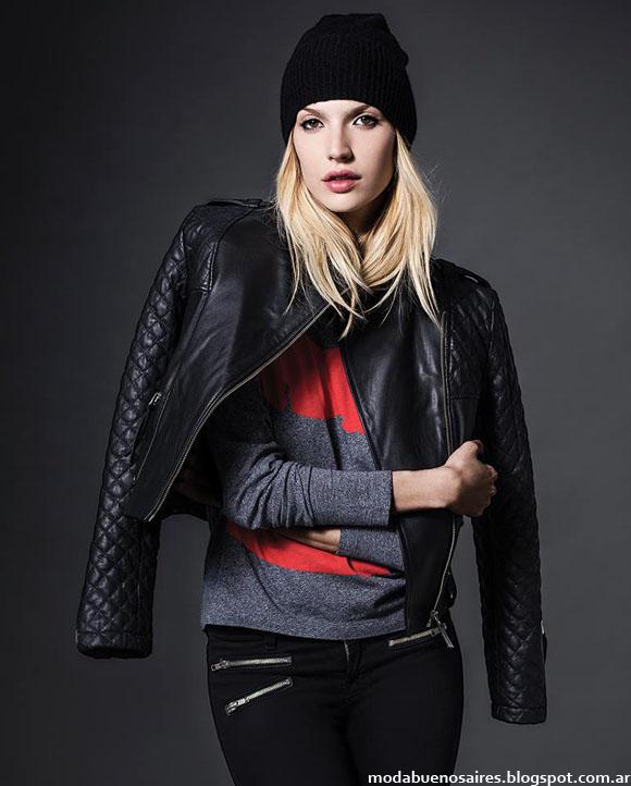 Camperas de cuero otoño invierno 2014 moda mujer.
