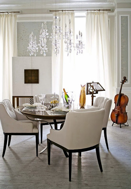 beautiful traditional white neutral dining room design