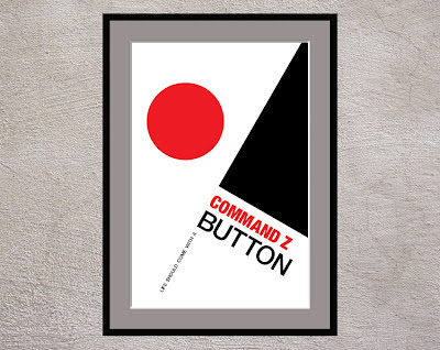 framed black and red geometric poster with text