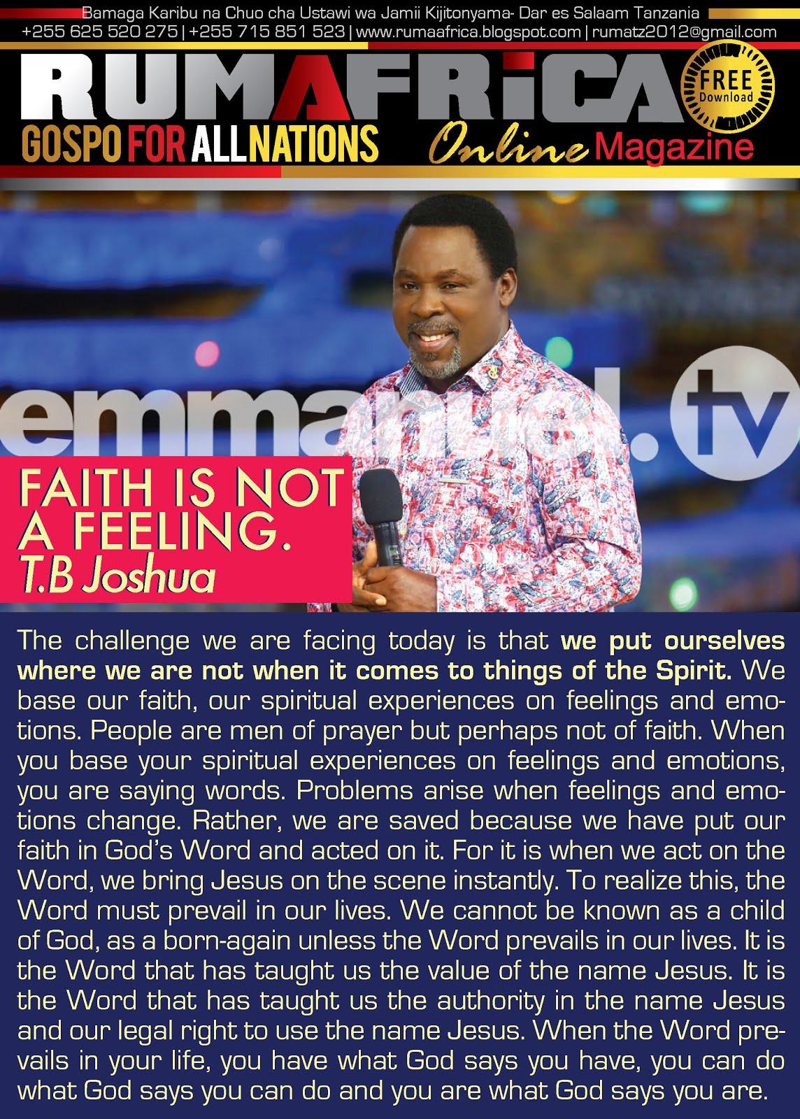 PROPHET TB JOSHUA -FAITH