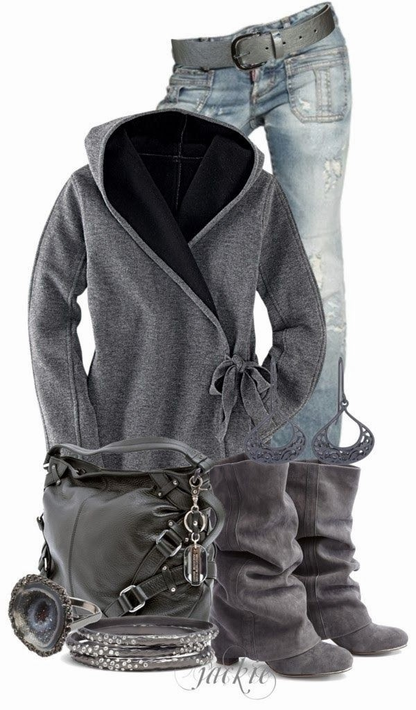 Adorable Grey Jacket, Light Blue Jeans, Handbag and Stylish Long Shoes with Accessories