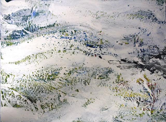 Bild mit Farbstrukturen von Schnee und Eisfläche