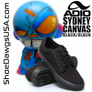 Adio Shoes: The Adio Sydney Shoe Canvas Black Black
