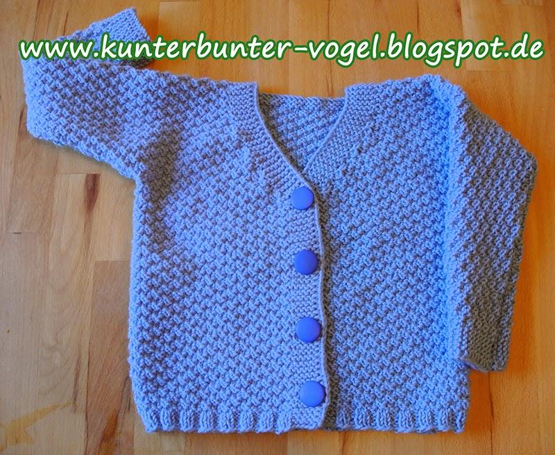 Kunterbunter Vogel Baby Jacke In Baby Blau