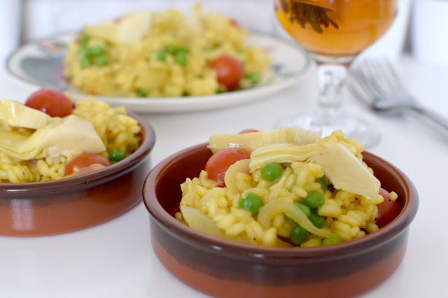 Artichoke & Onion Paella Recipe with Alhambra Reserva & Giveaway