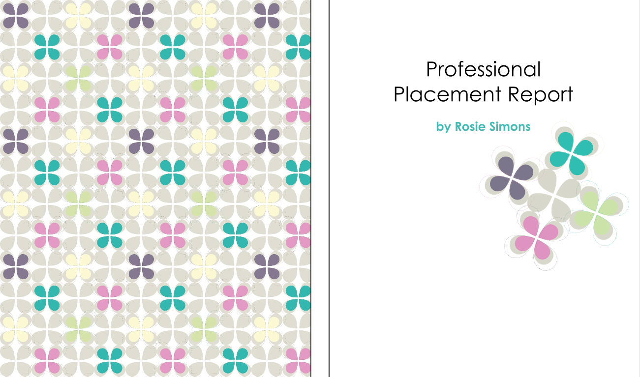 rosie simons middot professional placement report preview i used the turquoise colour for the contents page an introduction and about on the left page and contents page on the right