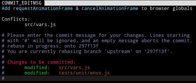 使用 git commit 時的 commit 訊息編輯畫面