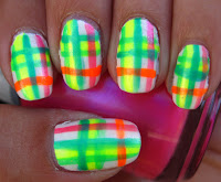 Neon plaid nails
