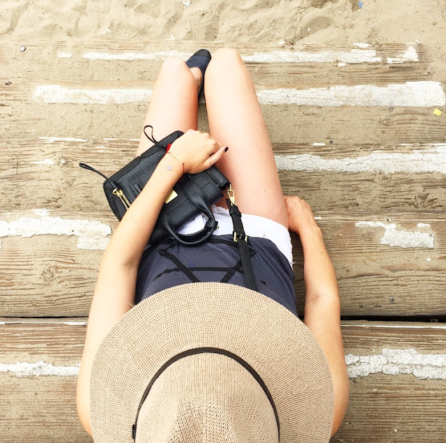 Urban Outfitters Panama Hat, One Teaspoon White Bandit Shorts, Beach Look, Chanel Espadrilles, Phillip Lim Bag