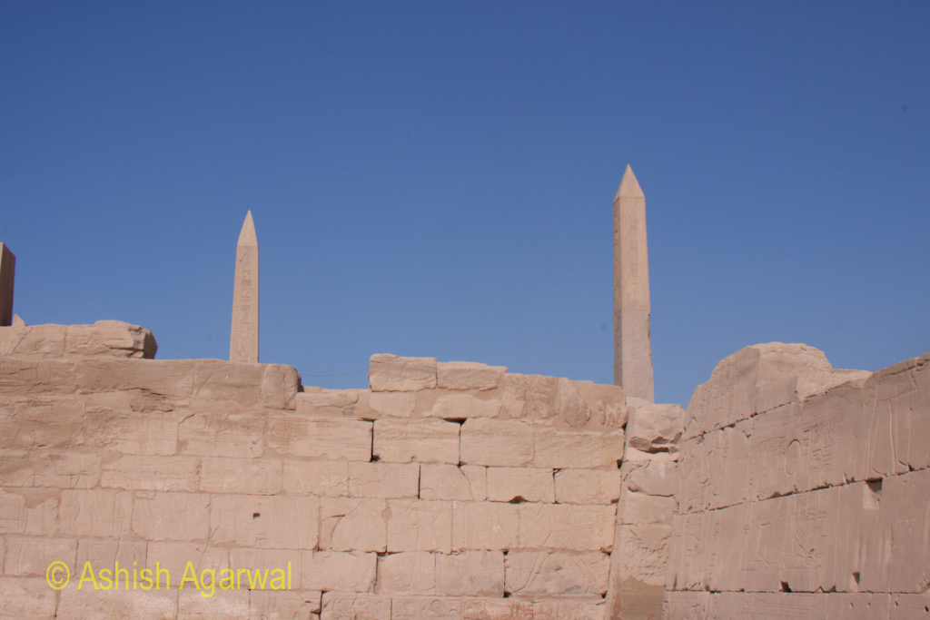 Photos of couple of obelisks inside the Karnak temple in Luxor
