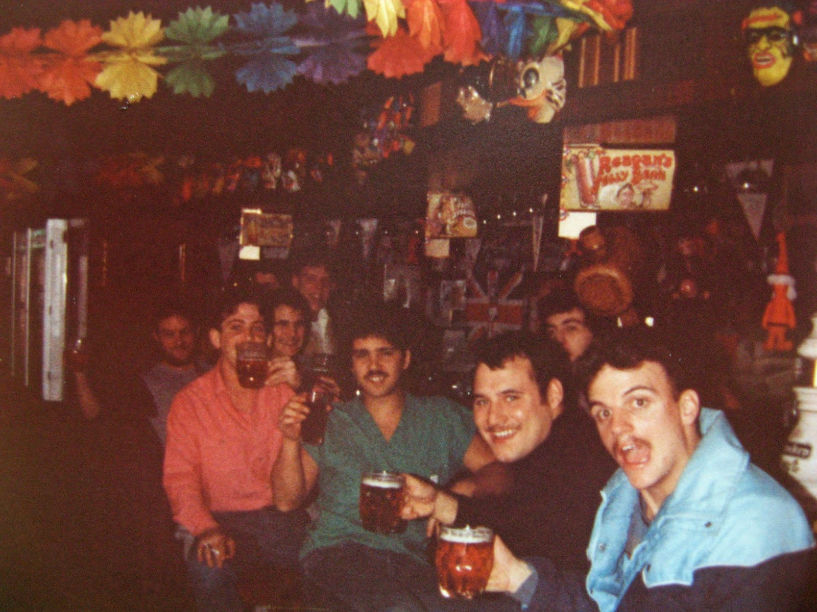 Aaaahhhh... the first drink!! February 1983 Palma, Spain