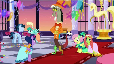 The ponies and Discord at the Grand Galloping Gala