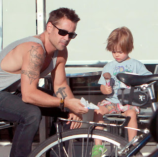 Colin Farrell hanging out with his son Henry