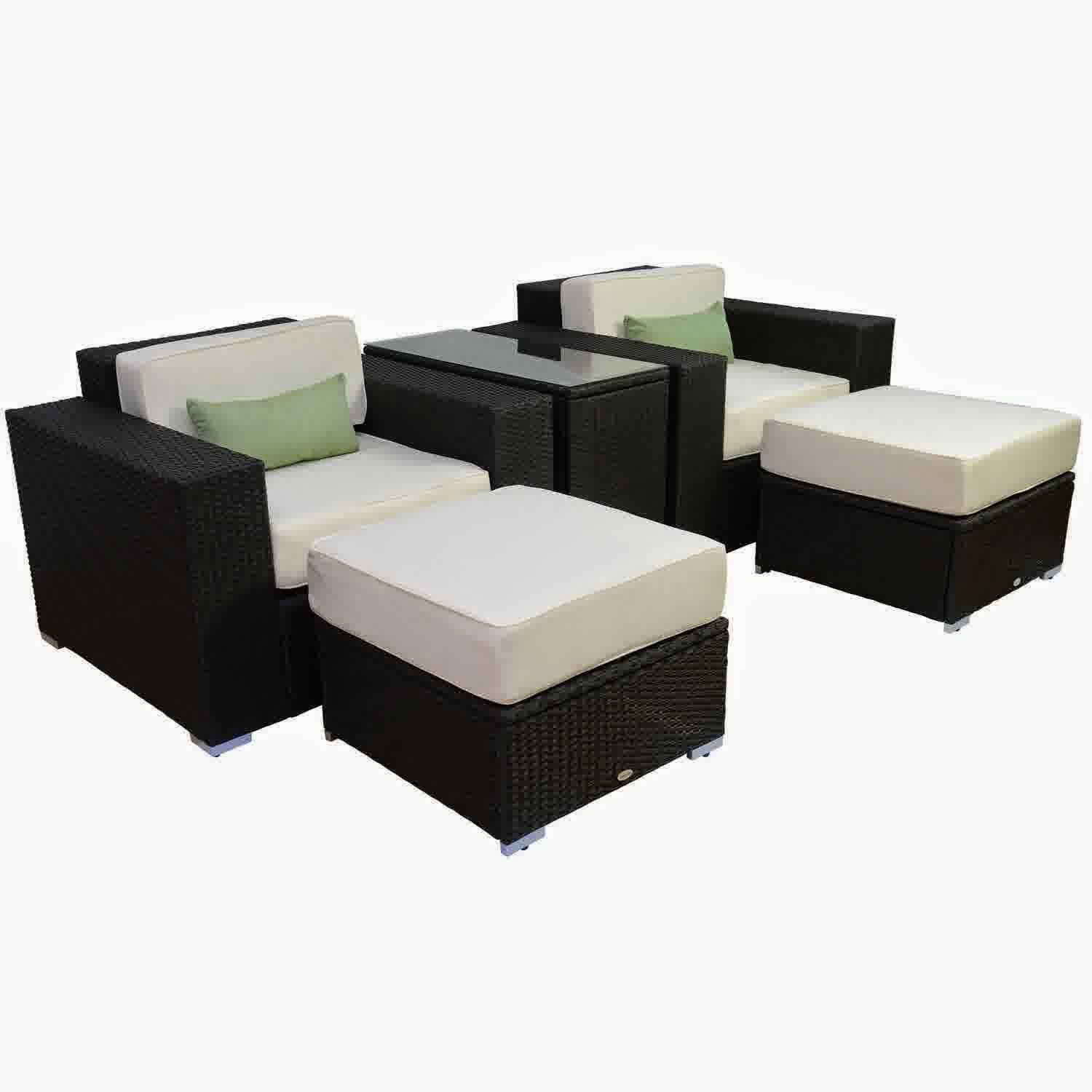 Discount until 60 outsunny 5pc outdoor pe rattan wicker for Affordable outdoor furniture sets