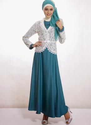 Desain Model Baju Gamis Dengan Blazer Brokat