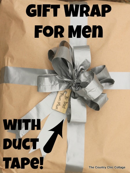 Gift wrap for men with duct tape -- a fun way to wrap gifts for guys!  Learn how to make a bow from duct tape!