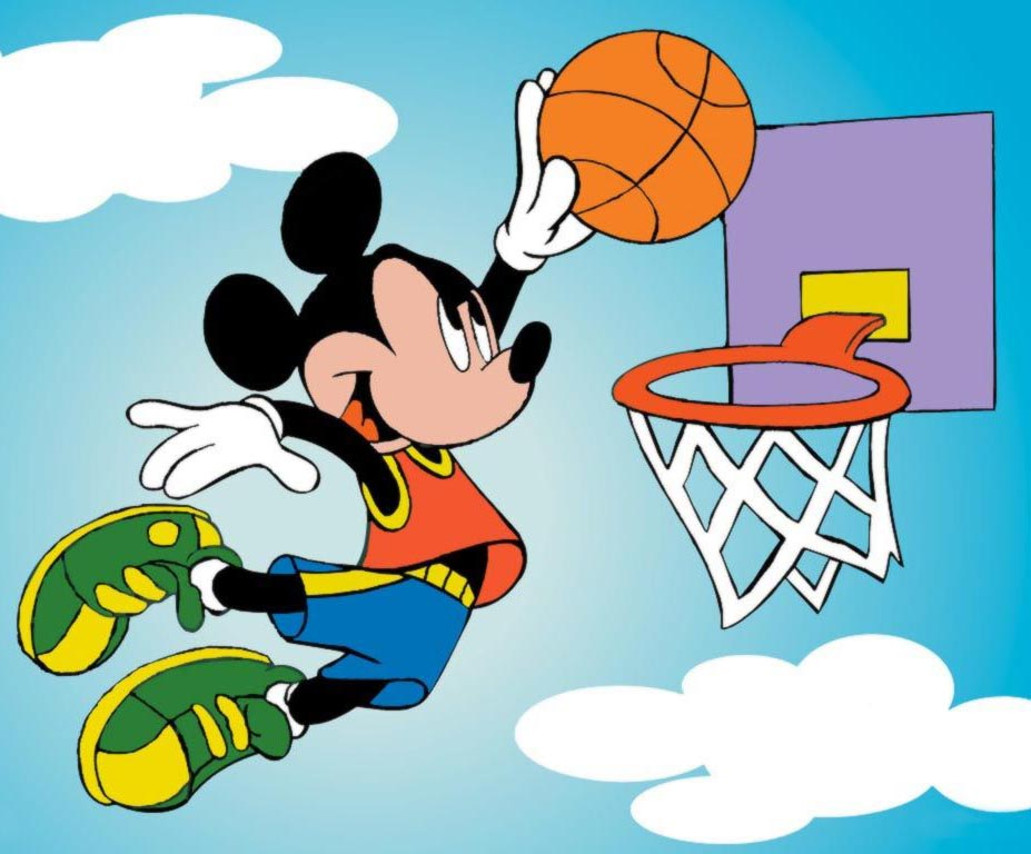 Cartoon Characters Playing Basketball :