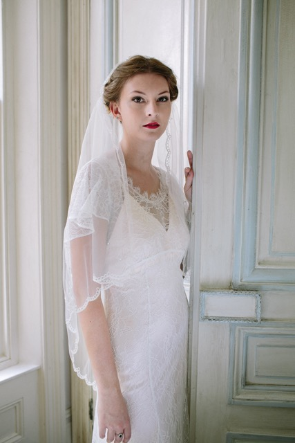 Vintage inspired cloche veil in lace, from Heavenly Vintage Brides - full length view