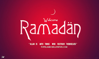 Ramadan kareem wallpaper with welcome text in it