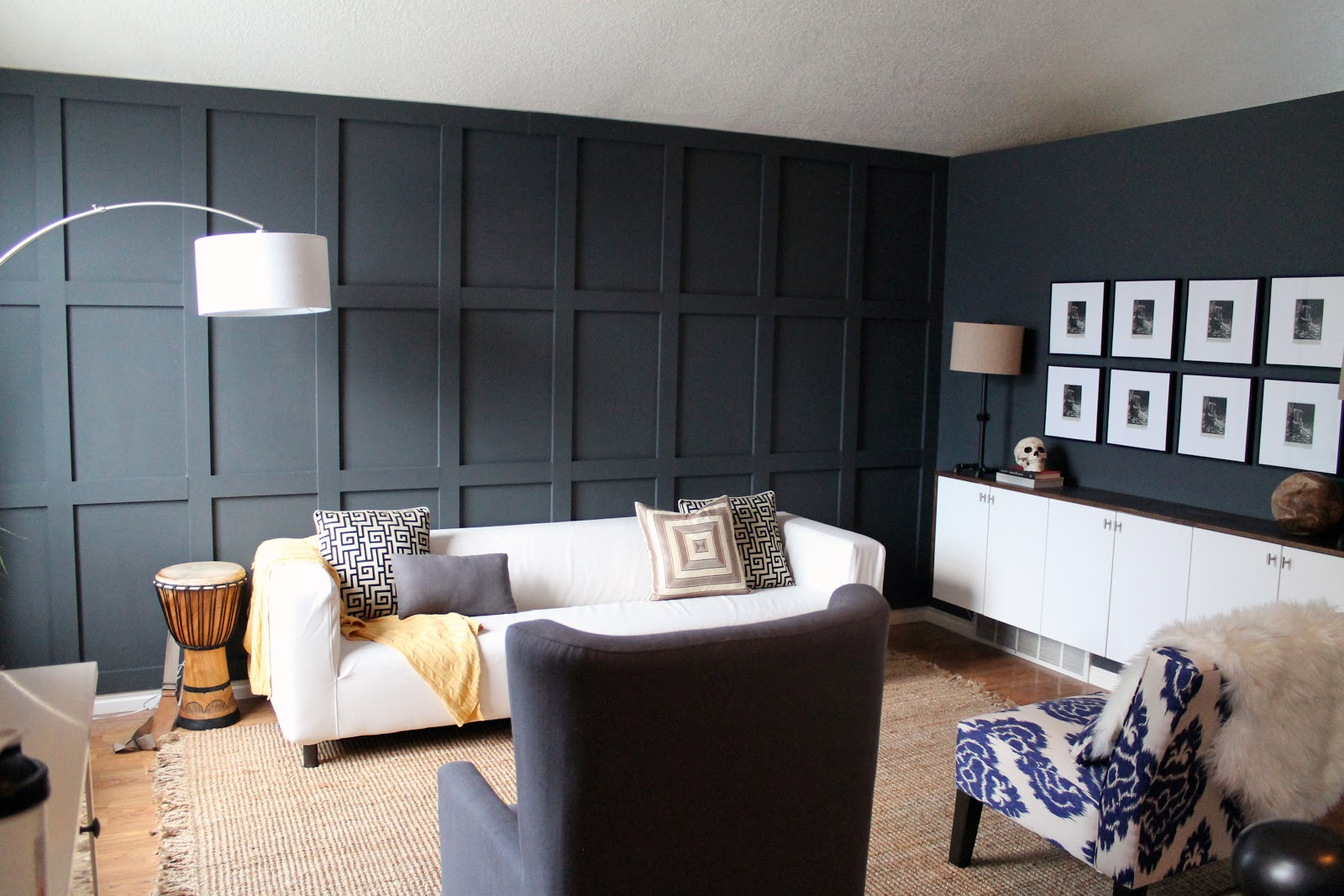 Our dark diyed wainscoting reveal chris loves julia for Living room wainscoting ideas