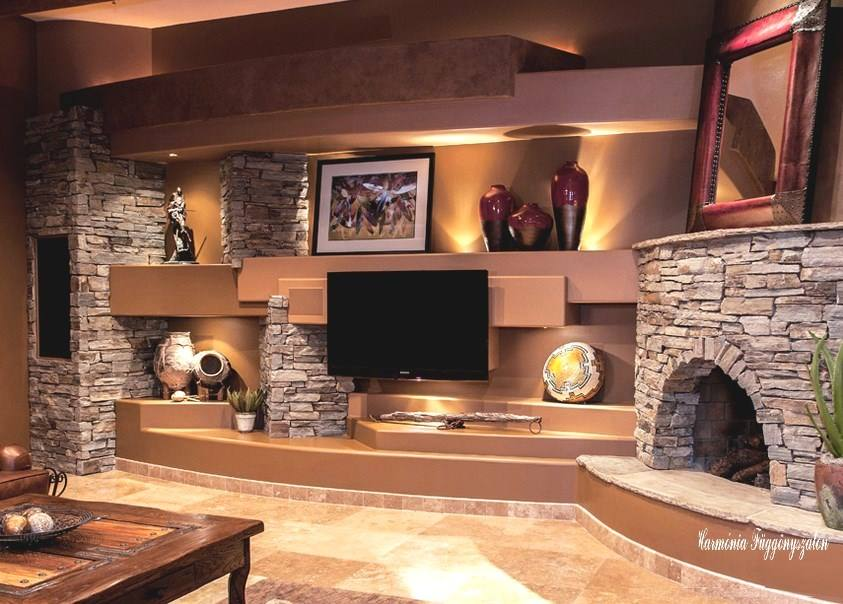 Rustic Living Room With Tv