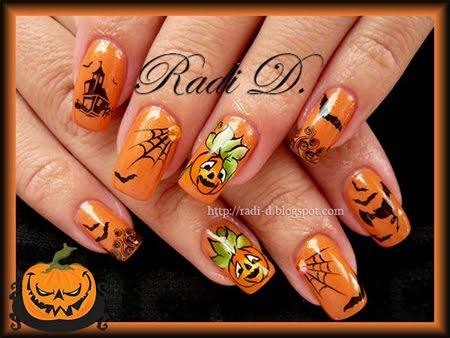 оранжев маникюр с декорация за Хелоуин