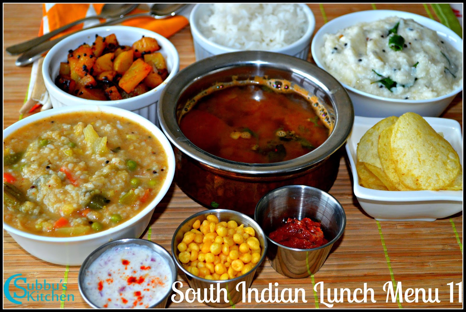 South indian lunch menu 12 bisibelabath kalyana rasam for Indian potato recipes for lunch