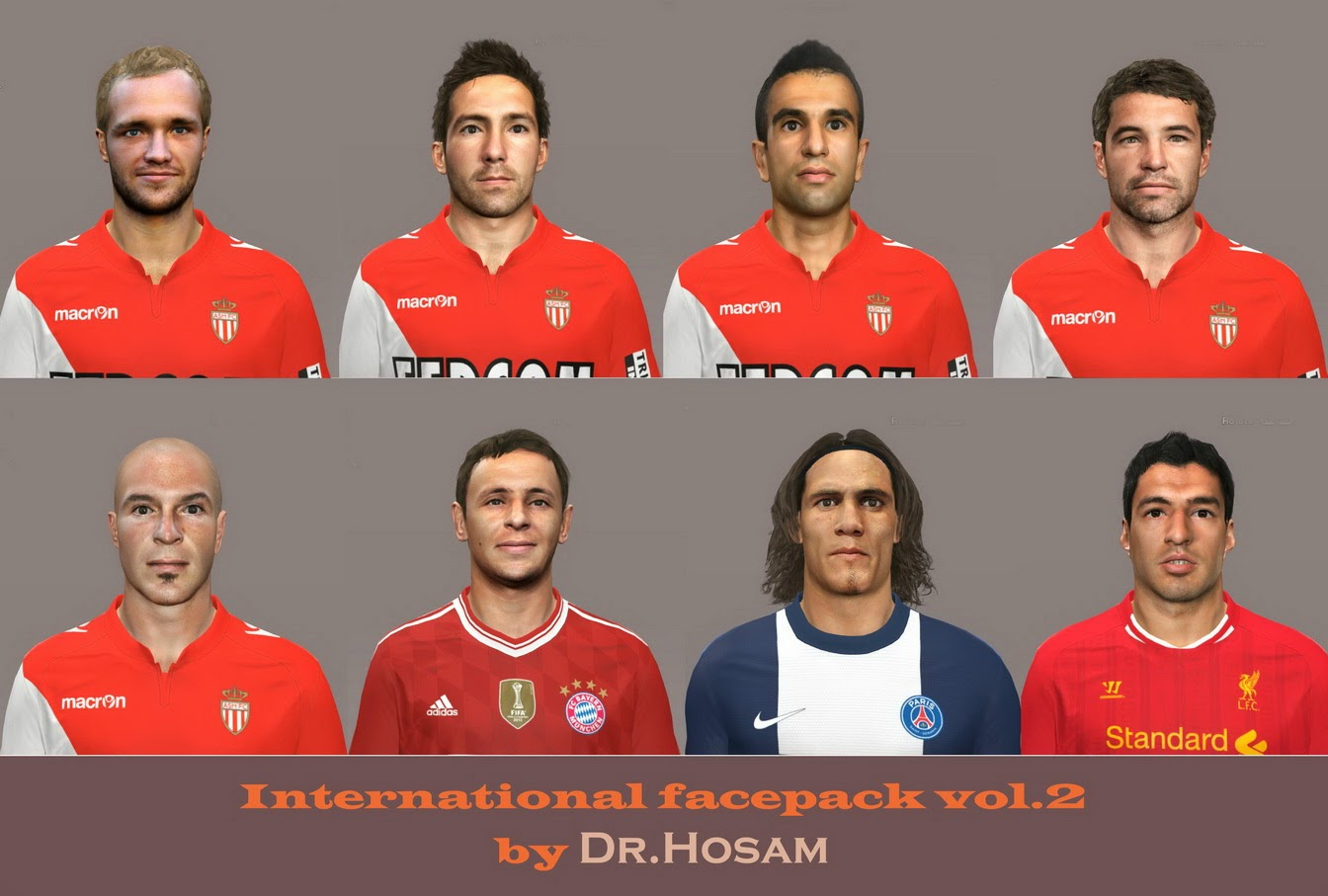 PES 2014 International face Pack vol.2 by dr.hosam