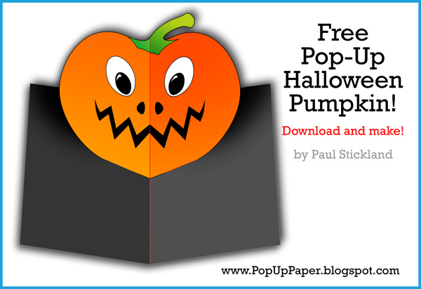 free pop up card template, pop up pumpkin card, pop up halloween card, paul stickland,