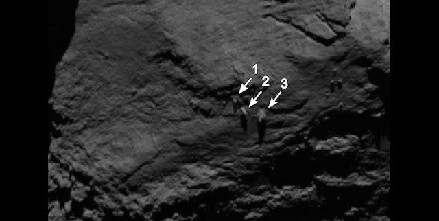 Image of the boulders taken by OSIRIS on 16 August 2014 from a distance of 105 kilometres. The image has a resolution of about 2 m/pixel. Boulder 3 measures approximately 30 m across. Credits: ESA/Rosetta/MPS for OSIRIS Team MPS/UPD/LAM/IAA/SSO/INTA/UPM/DASP/IDA