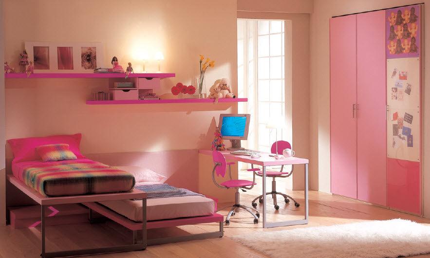 Habitaciones con estilo habitaciones rosa para dos ni as - Habitaciones pequenas para ninas ...