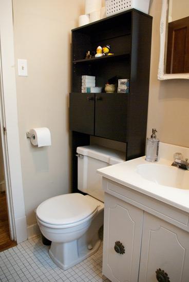 Bathroom over the toilet shelf