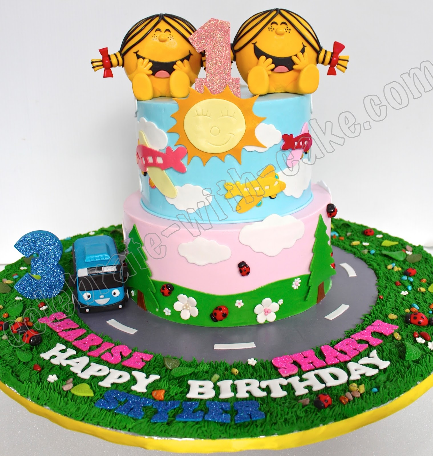 Celebrate With Cake Twins Little Miss Sunshine Tier Cake - Little miss birthday cake