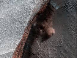 Avalancha de hielo en Marte.