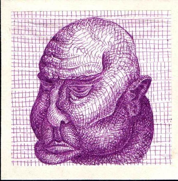 Хмурая лысая голова. Графический рисунок