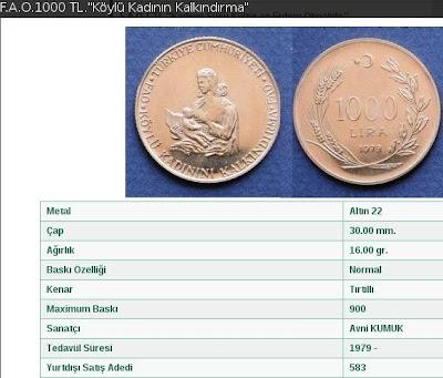 F.A.O. 1979 - Köylü Kadınını Kalkındırma - Altın 1000 Lira