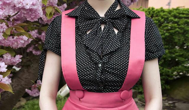 bow tie, polka dots, pinafore, vintage