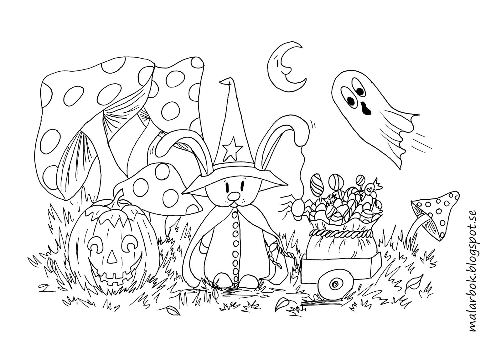 kanin häxa halloween teckning