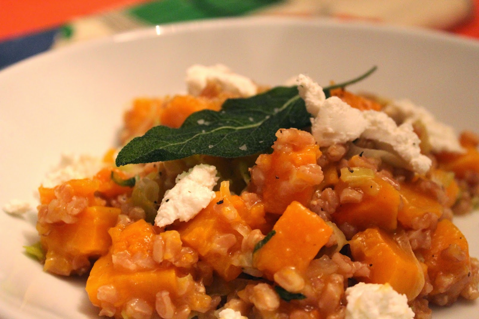 Farrotto with butternut squash, sage, and goat cheese