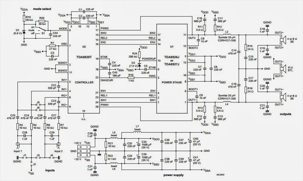 5000w audio power amplifier circuit