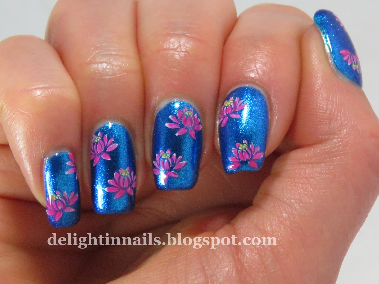 Delight In Nails: Lotus Nailart over Butter London Airy Fairy