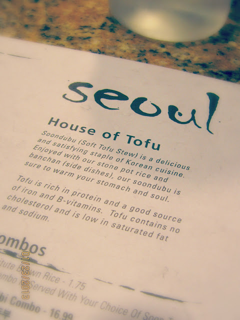 Seoul Tofu House- Menu