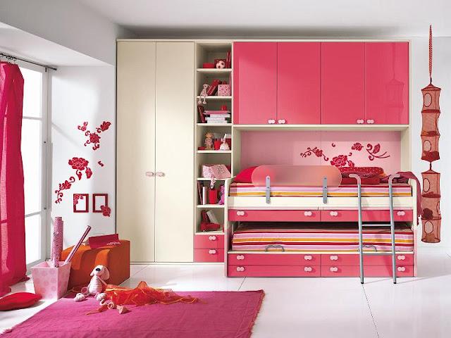 Habitaci n doble para ni as en rosa ideas para decorar for Paginas para disenar habitaciones