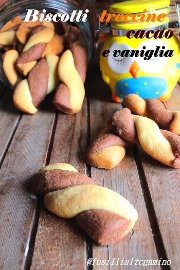 biscotti treccine, cacao e vaniglia