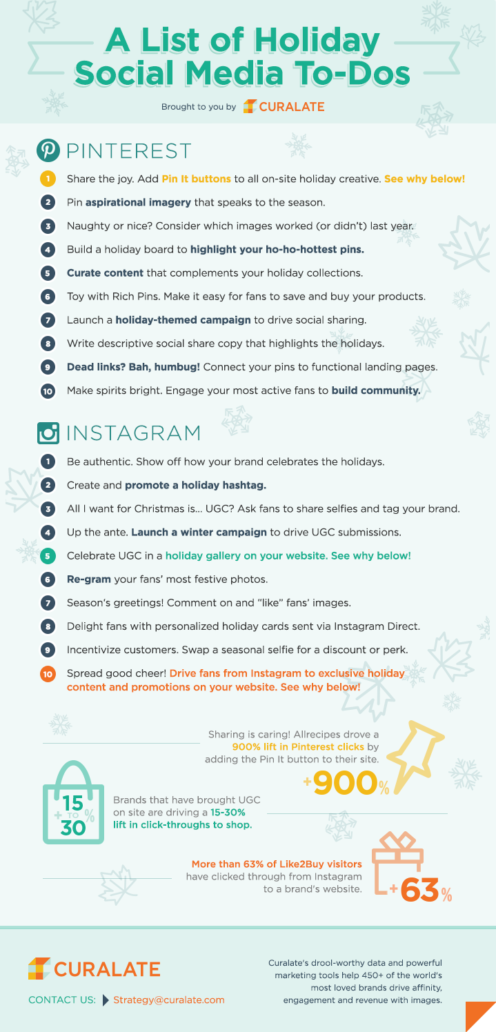 Instagram and Pinterest Marketing - A List Of Holiday Social Media To-Dos - #Infographic