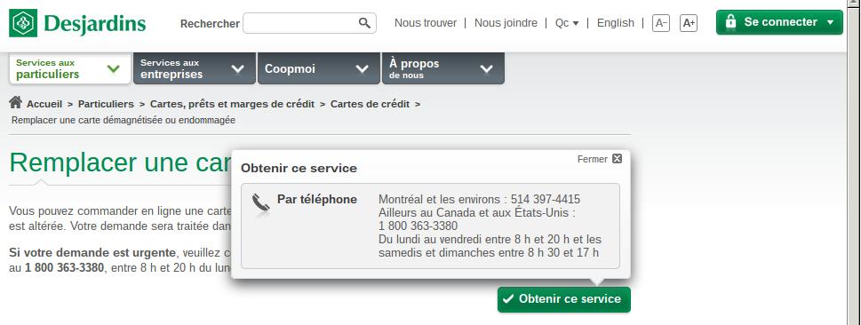 Desjardins visa telephone number