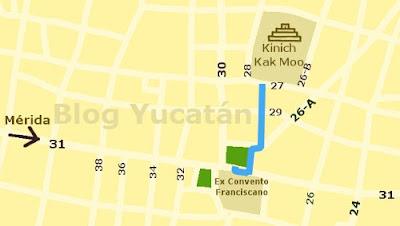 Mapa Como llegar Kinich Izamal