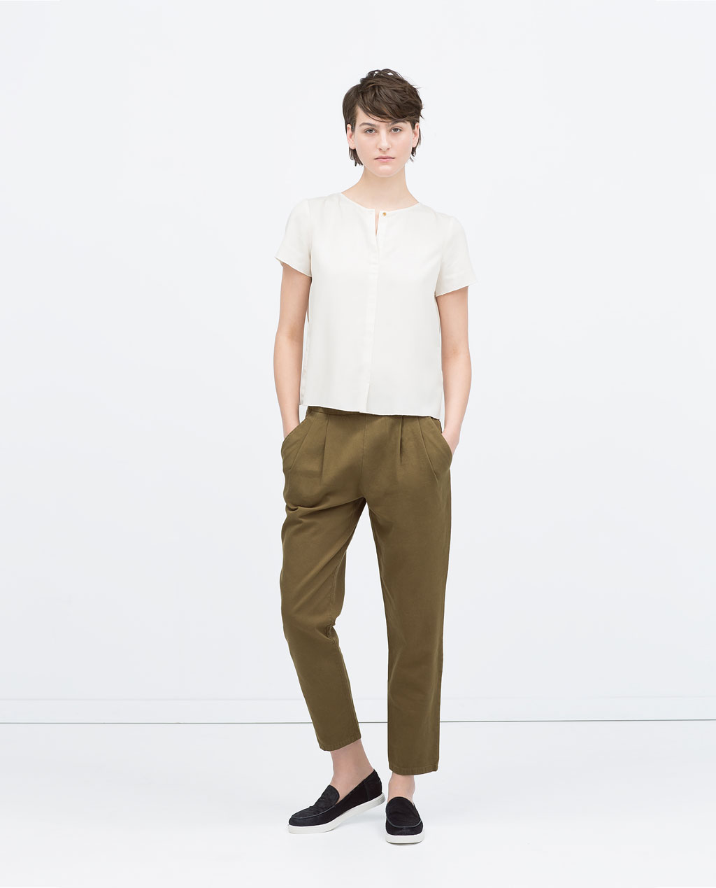 Zara Cropped Pleated Chinos